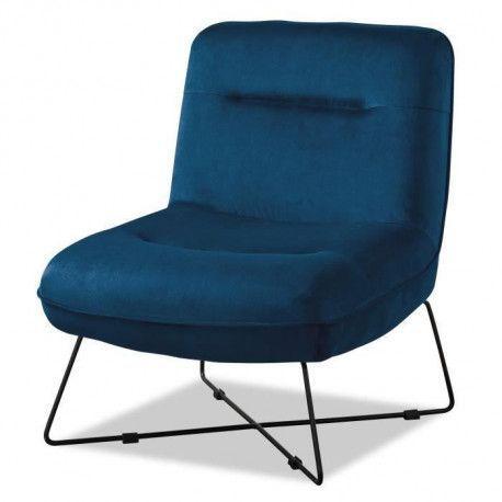 TIM Fauteuil pieds metal - Velours bleu - L 64 x P 74 x H 75 cm