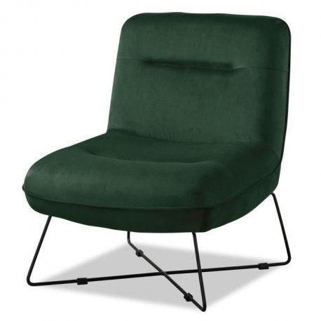 TIM Fauteuil pieds metal - Velours vert - L 64 x P 74 x H 75 cm