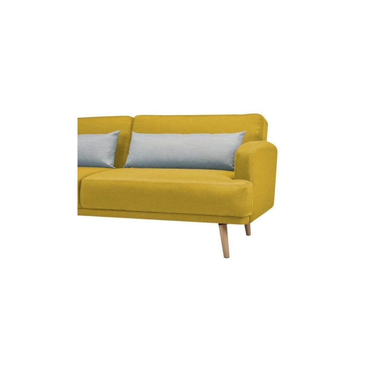Ressort Zig Zag Canapé Avis tom canape droit convertible 3 places - tissu jaune et gris - scandinave -  l 214 x p 86 cm