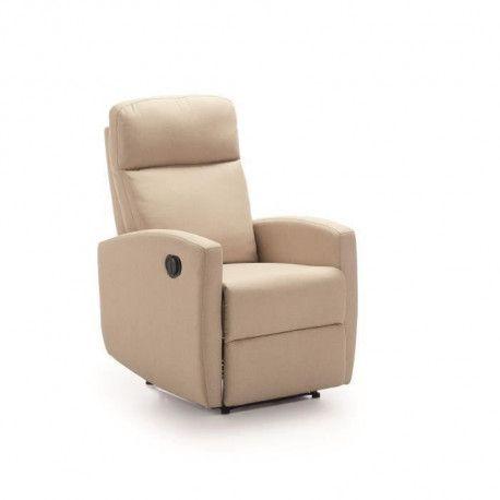 PHoeNIX Fauteuil de relaxation electrique - Toile Beige - L 67 x P 80 x H 105 cm