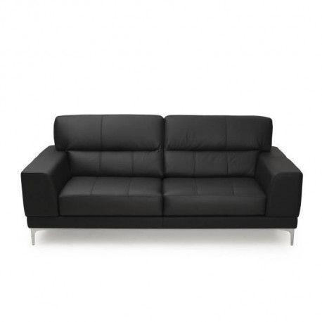 VERON Canape 3 places - Cuir noir - Made in Italy - L 213 x P 98 x H 91 cm