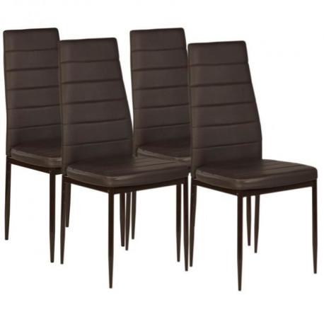 VOGUE Lot de 4 chaises de salle a manger - Simili marron - Style contemporain - L 43,5 x P 52 cm