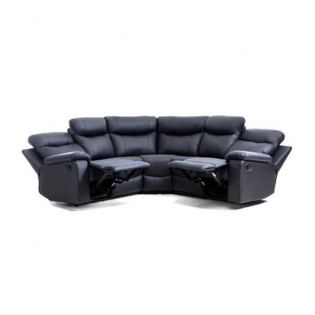 VOLUPTE Canape de relaxation angle reversible 5 places - Simili noir - Contemporain - L 238 x P 238 cm