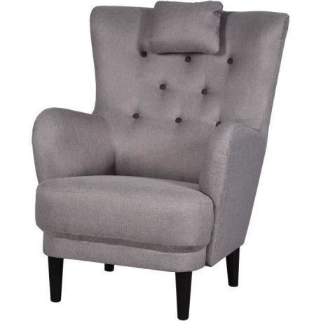 WERNER Fauteuil - Tissu Taupe - Boutons Marron - L 81 x P 90 x H 106 cm
