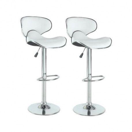 YORK Lot de 2 tabourets de bar reglables - Simili blanc - Contemporain - L 51 x P 50 cm