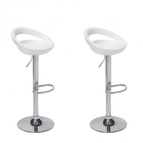 MOON Lot de 2 tabourets de bar - Blanc - Style contemporain - L 41,2 x P 46 cm