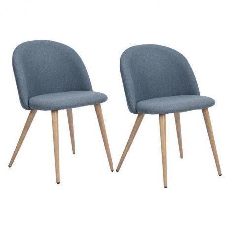ZOMBA Lot de 2 Chaises de salle a manger en metal - Tissu bleu - Scandinave - L 48 x P 50 cm