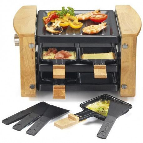 KITCHENCHEF RACLETTE GRIL 4P 650W BOIS RANGE POELONS KITCHENCHEF - KCWOOD4RP
