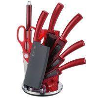 Imperial Collection IM-SHN8: Ensemble De Couteaux 8 Pièces Avec Support Rouge