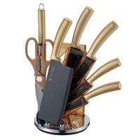 Imperial Collection IM-SHN8: Ensemble De Couteaux 8 Pièces Avec Support Doré