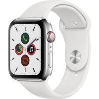 Apple Watch Series 5 Cellular 44 mm Boitier en Acier Inoxydable avec Bracelet Sport Blanc - M/L
