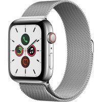 Apple Watch Series 5 Cellular 44 mm Boitier en Acier Inoxydable avec Bracelet Milanais - M/L