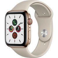 Apple Watch Series 5 Cellular 44 mm Boitier en Acier Inoxydable Or avec Bracelet Sport Stone - M/L