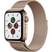 Apple Watch Series 5 Cellular 44 mm Boitier en Acier Inoxydable Or avec Bracelet Milanais Or - M/L