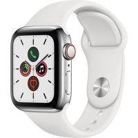 Apple Watch Series 5 Cellular 40 mm Boitier en Acier Inoxydable avec Bracelet Sport Blanc - S/M
