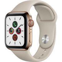 Apple Watch Series 5 Cellular 40 mm Boitier en Acier Inoxydable Or avec Bracelet Sport Stone - S/M