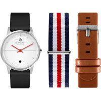 NoeRDEN Montre connectee Life - Bracelets interchangeables : silicone noir / cuir marron / nato bleu, blanc, rouge