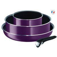 TEFAL INGENIO ESSENTIAL L2019302 Batterie de cuisine 4 Pieces - Violet Byzantium - tous feux hors induction