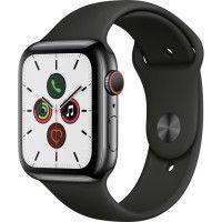 Apple Watch Series 5 Cellular 44 mm Boitier en Acier Inoxydable Gris Sideral avec Bracelet Sport Noir - M/L