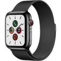 Apple Watch Series 5 Cellular 44 mm Boitier en Acier Inoxydable Noir Sideral avec Bracelet Milanais Noir Sideral - M/L