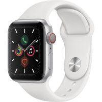 Apple Watch Series 5 Cellular 40 mm Boitier en Aluminium Argent avec Bracelet Sport Blanc - S/M
