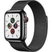 Apple Watch Series 5 Cellular 40 mm Boitier en Acier Inoxydable Noir Sideral avec Bracelet Milanais Noir Sideral - S/M