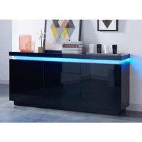 FLASH Buffet bas avec LED contemporain noir laque brillant - L 175 cm