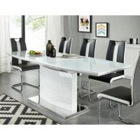 ICE Table a manger extensible de 8 a 10 personnes style contemporain laque blanc brillant avec socle en acier - L 160-220 x l 80