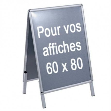 PLV CHEVALET TROTTOIR ALU POUR AFFICHE 60X80 2 FACES A1 (59,4 x 84cm) PLV - FF25350