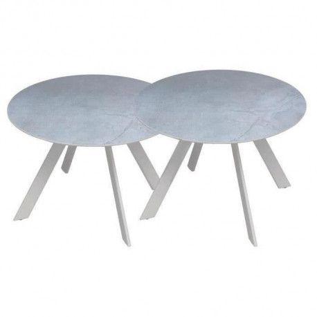 Lot de 2 tables rondes base en metal avec plateau en gres - Blanc