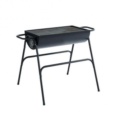 Barbecue a charbon demi-tonneau - 12 convives - Acier - Noir