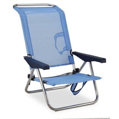 EREDU Chaise de Plage-Lit 991/Tx - Aluminium et PVC Tisse - Bleu et Gris