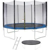 Trampoline MAXI ECO O 360 cm Bleu - Avec Filet, Echelle, Couverture de Protection