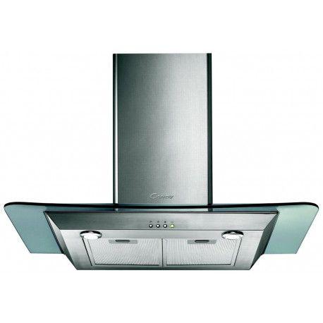 Candy CMDG 919 X - Hotte - hotte décorative - largeur : 90 cm - profondeur : 50 cm - evacuation & recyclage - inox et verre