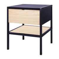 MINSK Table dappoint 1 tiroir - Imitation bois - L 45 x P 45 x H 50 cm