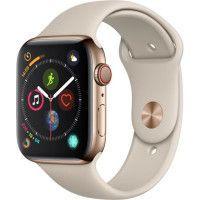 Apple Watch Series 4 GPS + Cellular,44mm Boitier en acier inoxydable or avec Bracelet Sport gris sable