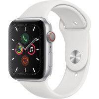 Apple Watch Series 5 Cellular 44 mm Boitier en Aluminium Argent avec Bracelet Sport Blanc - M/L