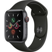 Apple Watch Series 5 Cellular 44 mm Boitier en Aluminium Gris Sideral avec Bracelet Sport Noir - M/L