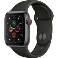 Apple Watch Series 5 Cellular 40 mm Boitier en Aluminium Gris Sideral avec Bracelet Sport Noir - S/M