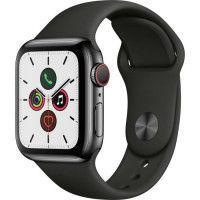 Apple Watch Series 5 Cellular 40 mm Boitier en Acier Inoxydable Noir Sideral avec Bracelet Sport Noir - S/M