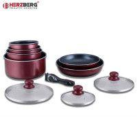 Herzberg HG-5000: Batterie De Cuisine 10 Pièces Avec Revêtement En Marbre Bourgogne