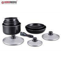 Herzberg HG-5000: Batterie De Cuisine 10 Pièces Avec Revêtement En Marbre Noire