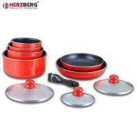 Herzberg HG-5000: Batterie De Cuisine 10 Pièces Avec Revêtement En Marbre Rouge