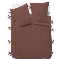FINLANDEK Parure de couette Rachelle - 100% coton lave - 220 x 240 cm - Marron terracotta