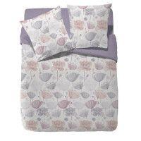 FINLANDEK Parure de couette reversible Sasuli - 100% coton - 240 x 260 cm - Violet lilas et beige