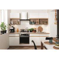SEMILINE Cuisine complete L 240cm - Blanc et chene - poignee prise de main integree aux facades