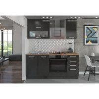 LASSEN Cuisine complete L 180 cm avec meuble four et plans de travail - Gris Matera