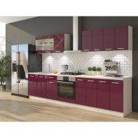 ULTRA Cuisine complete avec meuble four et plan de travail inclus L 300 cm - Aubergine brillant