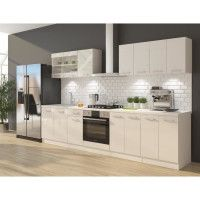 ULTRA Cuisine complete avec meuble four et plan de travail inclus L 300 cm - Blanc brillant
