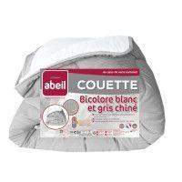 ABEIL Couette temperee BICOLORE 140x200cm - Blanc + Gris chine